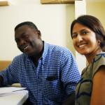 Natascha Yogachandra with the Haiti Education Ministry official